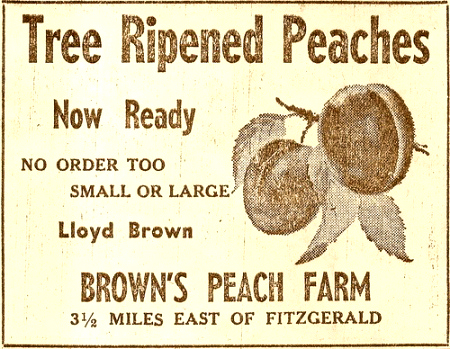 lloyd-browns-peach-farm-fitzgerald-ga-old-newspaper-ad-1950s-copyright-brian-brown-vanishing-south-georgia-usa-2009-2010-2011