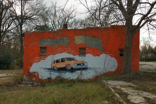 Millen GA Orange Cinder Block Building Car Wash Chevrolet Mural Photograph Copyright Brian Brown Vanishing South Georgia USA 2013