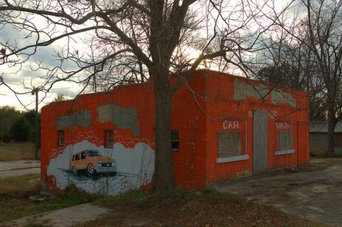 Millen GA Orange Cinder Block Building Car Wash Mural Photograph Copyright Brian Brown Vanishing South Georgia USA 2013