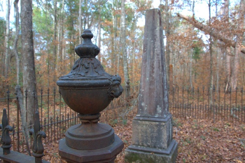 Obelisk Headstone & Iron Urn Lions Head Fencepost Dr. Henry Hines Big Buckhead Baptist Church Cemetery Jenkins County GA Photograph Copyright Brian Brown Vanishing South Georgia USA 2013