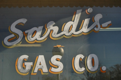 Sardis Gas Company Window Sign Burke County GA Photograph Copyright Brian Brown Vanishing South Georgia USA 2013
