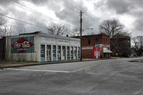 Tennille GA Washington County Early 20th Century Commercial Storefronts Redesigned Coca Cola Mural Photograph Copyright Brian Brown Vanishing South Georgia USA 2013
