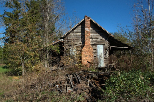 Tift County GA Whiddon Mill Road Chula Area Log Farmhouse Twin Porches Grady Jones Photograph Copyright Brian Brown Vanishing South Georgia USA 2013