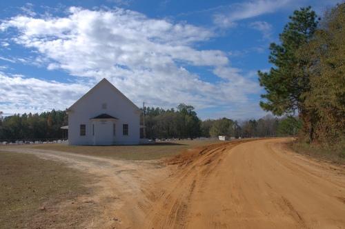 Upper Mill Creek Old Line Primitive Bapitst Church Bulloch County GA Red Dirt Road Photograph Copyright Brian Brown Vanishing South Georgia USA 2013