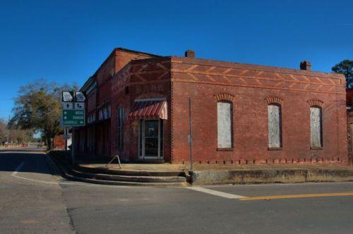 Bank of Stapleton GA Jefferson County Endangered Architecture Brick Mosaic Photograph Copyright Brian Brown Vanishing South Georgia USA 2014