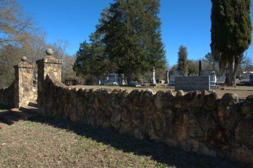 Bartow GA City Cemetery Stone Wall Photograph Copyright Brian Brown Vanishing South Georgia USA 2014