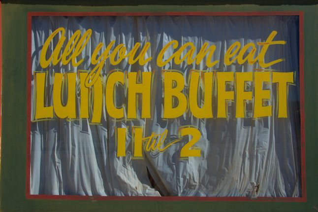 Bartow GA Jefferson County Old Cafe All You Can Eat Buffet Window Sign Photograph Copyright Brian Brown Vanishing South Georgia USA 2014