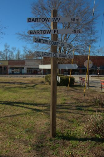 Bartow GA Jefferson County Sign Showing Other Bartows in America Photograph Copyright Brian Brown Vanishing South Georgia USA 2014