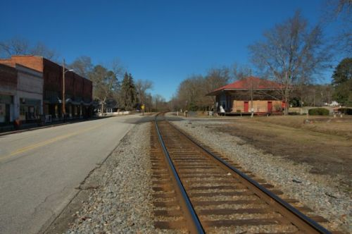 Bartow GA Railroad Tracks Historic Antebellum Depot Central of Georgia Photograph Copyright Brian Brown Vanishing South Georgia USA 2014