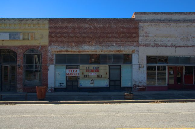 Bartow GA Trackside Commercial Storefronts Historic Downtown Photograph Copyright Brian Brown Vanishing South Georgia USA 2014