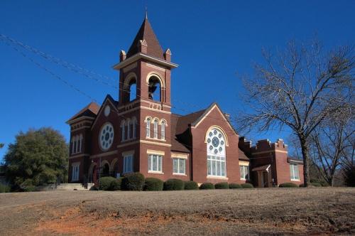 Davisboro GA Methodist Episcopal Church South United Methodist Gothic Architecture Photograph Copyright Brian Brown Vanishing South Georgia USA 2014