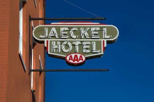 Jaeckel Hotel Statesboro GA City Hall Restored AAA Neon Sign Photograph Copyright Brian Brown Vanishing South Georgia USA 2014