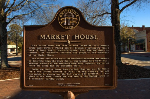 Louisville GA Old Market Formerly Thought to be Slave Market Downtown Landmark Symbol Historic Marker Photograph Copyright Brian Brown Vanishing South Georgia USA 2014