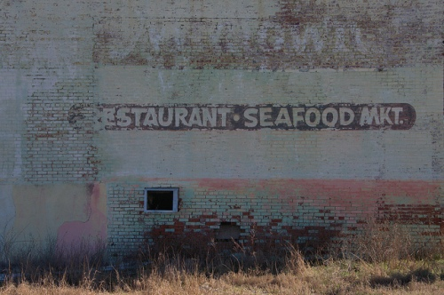 Restaurant Seafood Marker Mural Pale Greens Hot Pinks Brick Downtown Statesboro GA Bulloch County Photograph Copyright Brian Brown Vanishing South Georgia USA 2014