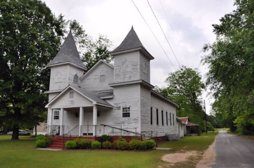 Wadley GA Jefferson County Twin Steeple African American Church Photograph Copyright Brian Brown Vanishing South Georgia USA 2014