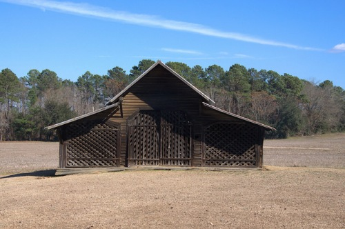Brinson Homeplace Barn with Trellis Doors Symmetryical Photograph Copyright Brian Brown Vanishing South Georgia USA 2014