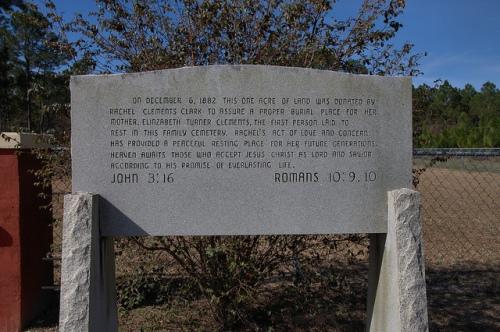 Clements Cemetery Big Creek Church Road Memorial to Rachel Clements Clark Irwin County GA Photograph Copyright Brian Brown Vanishing South Georgia USA 2014