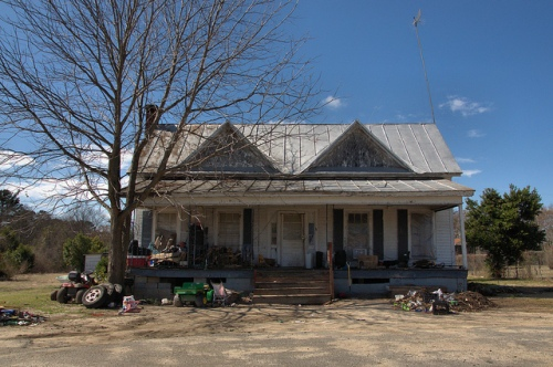 Double Gabled Folk Victorian Farmhouse Cochran GA Photograph Copyright Brian Brown Vanishing South Georgia USA 2014