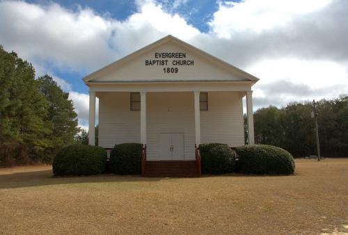 Evergreen Baptist Church Bleckley County GA Antbellum Landmark Slave Gallery Photograph Copyright Brian Brown Vanishing South Georgia USA 2014