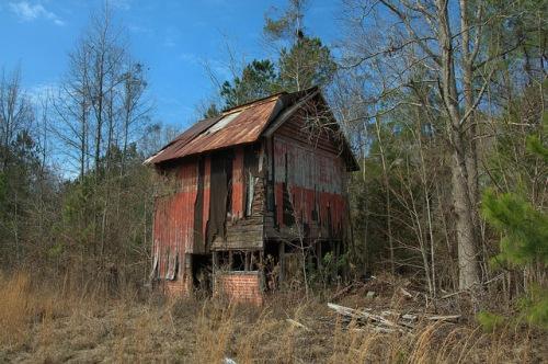 Red Tobacco Barn Cobbtown GA Tattnall County Photograph Copyright Brian Brown Vanishing South Georgia USA 2014