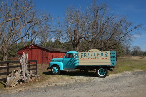 Sky Blue Restored Antique Farm Truck Fritters Restaurant Photograph Copyright Brian Brown Vanishing South Georgia USA 2014