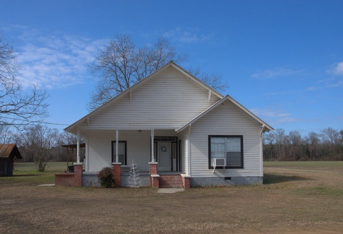 Vernacular Architecture White Clapboard Farmhouse Cobbtown GA Tattnall County Photograph Copyright Brian Brown Vanishing South Georgia USA 2014