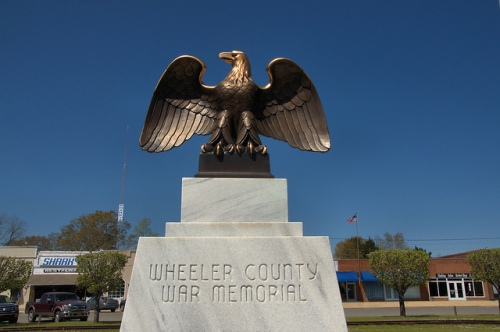 Alamo GA Downtown Railroad Street Wheeler County War Memorial Bronze Eagle Photograph Copyright Brian Brown Vanishing South Georgia USA 2014