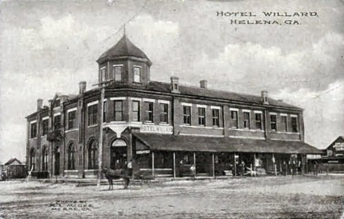 Antique Postcard of Hotel Willard Telfair Hotel Helena GA Courtesy and Credit to Danny Harbin via Julian Williams Vanishing South Georgia 2014