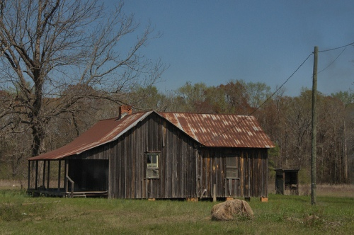 Board and Batten Farmhouse Cabin Laurens County GA Near Dublin Photograph Copyright Bian Brown Vanishing South Georgia USA 2014