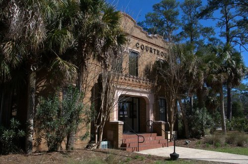 Camden County Courthouse Woodbine GA One of Two Gothic Revival in Georgia Palm Tree Photograph Copyright Brian Brown Vanishing South Georgia USA 2014