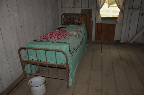 Hofwyl Broadfield Plantation Glynn County GA Servant Quarters Bedroom Chenille Spread Chamber Pot Photograph Copyright Brian Brown Vanishing South Georgia USA 2014