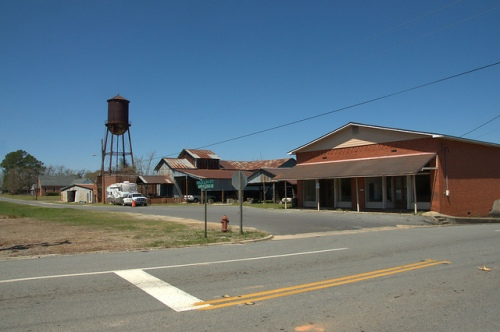 Railroad Avenue Chauncey GA Dodge County Water Tower Cotton Gin Warehouse Store Photograph Copyright Brian Brown Vanishing South Georgia USA 2014