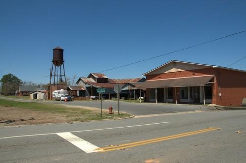 Railroad Avenue Chauncey GA Dodge County Water Tower Cotton Gin Warehouse Store Photograph Copyright Brian Brown Vanishing South Georgia USA 2014