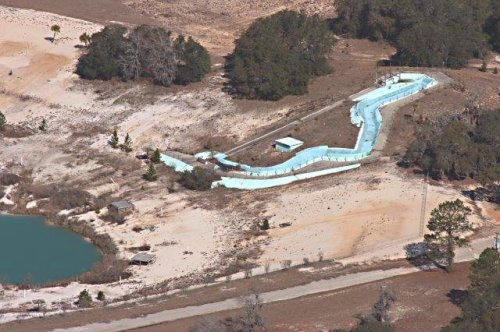 2008 Aerial Photograph of Crystal Lake Irwin County GA Showing Newer Waterslide Courtesy of Browne Harper for Vanishing South Georgia