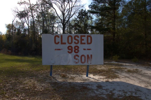 Crystal Lake Irwin County GA Closed 98 Season Sign at Entrance Photograph Copyright Brian Brown Vanishing South Georgia USA 2014