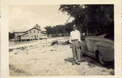Crystal Lake Irwin County GA Vintage Brownie Photograph Man by 1940s Convertible Tame Wild Boar Old Wooden Pavilion Photograph Copyright Unattributed Snapshot Vanishing South Georgia USA 2014