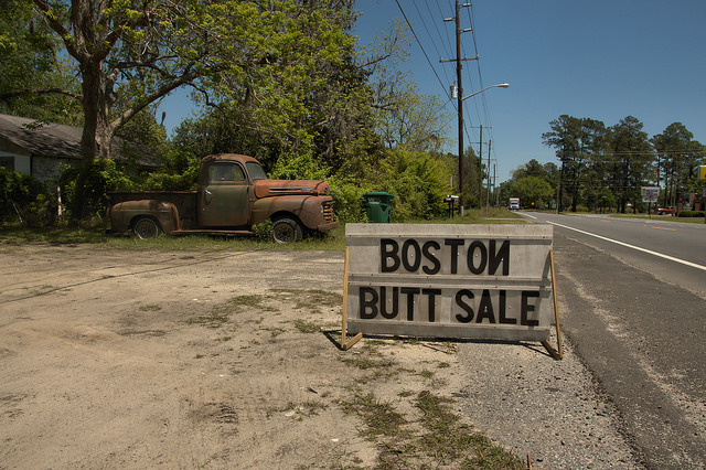 Guyton GA Effingham County Roadside Sign Boston Butt Sale Old Rusty Ford Truck Americana Rural South Photograph Copyright Brian Brown Vanishing South Georgia USA 2014
