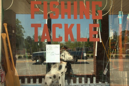 Pembroke GA Hardware Store Bryan County Fishing Tackle Window Sign Americana Dalmatian Photograph Copyright Brian Brown Vanishing South Georgia USA 2014