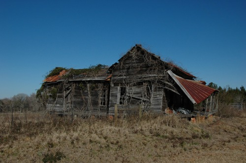 Abandoned Farmhouse Collapsing Rusted Tin Roof Irwin County GA Photograph Copyright Brian Brown Vanishing South Georgia USA 2014