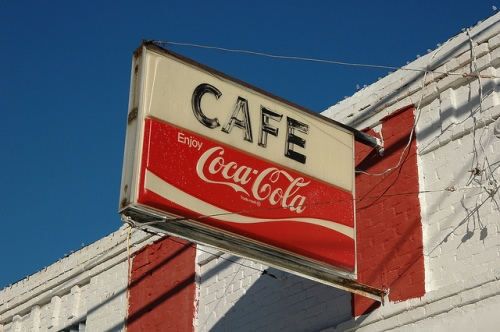 Crawfordville GA Taliafero County Liberty Cafe Coca Cola Sign Americana Photograph Copyright Brian Brown Vanishing North Georgia USA 2014