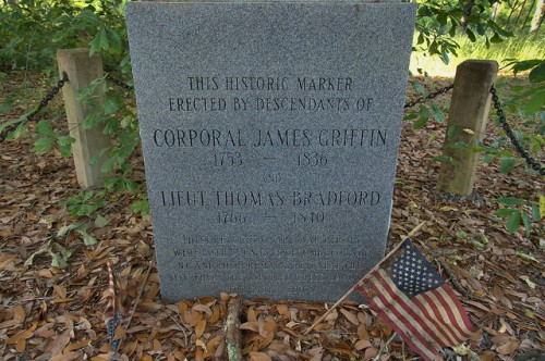 Irwin County GA Revolutionary War Corporal James Griffin Lieutenant Thomas Bradford Monument Oak Tree Photograph Copyright Brian Brown Vanishing South Georgia USA 2014