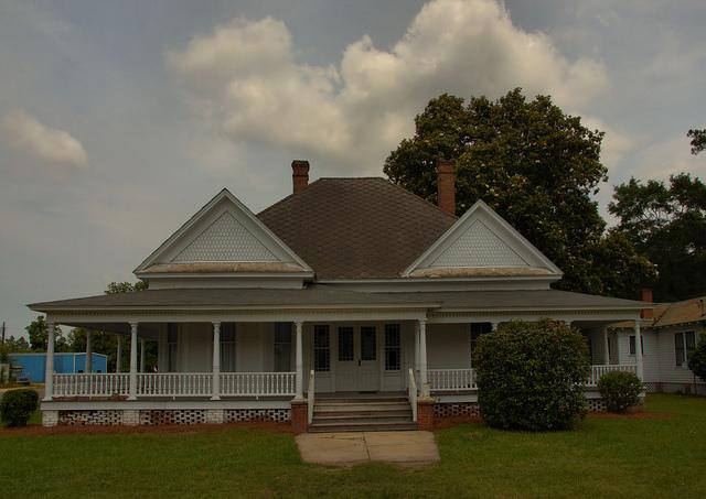 Neoclassical Architecture Landmark House Lumber City GA Photograph Copyright Brian Brown Vanishing South Georgia USA 2014