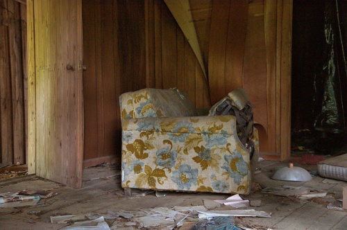 Old House Interior Floral Print Sleeper Sofa Abandoned Detritus Toombs County GA Photograph Copyright Brian Brown Vanishing South Georgia USA 2014