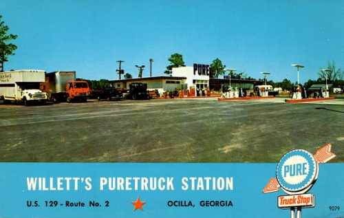Old Ocilla Truck Stop Irwin County GA Willett's Pure Truck Station Photo Postcard Collection of Brian Brown Vanishing South Georgia USA 2014