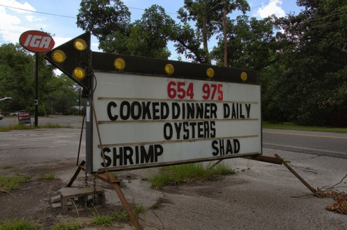 Glennville GA Tattnall County Kirkland's Seafood Market Cooked Dinner Daily Oysters Shrimp Shad Portable Sign Photograph Copyright Brian Brown Vanishing South Georgia USA 2014