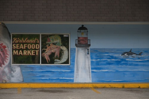 Glennville GA Tattnall County Kirkland's Seafood Market Local Shrimp Marine Mural Lighthouse Photograph Copyright Brian Brown Vanishing South Georgia USA 2014