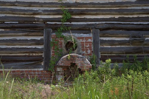 Log Tobacco Barn Kiln Furnace Tattnall County GA Photograph Copyright Brian Brown Vanishing South Georgia USA 2014