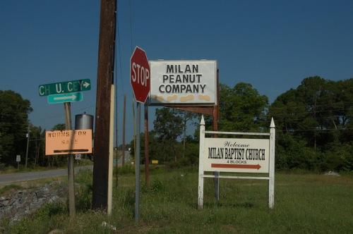 Milan GA Dodge County Peanut Company Worms Church Signs Photograph Copyright Brian Brown Vanishing South Georgia USA 2014