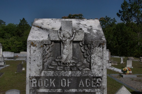 Mt. Zion United Methodist Church Cemtery Telfair County GA Mary Cravey Headstone Rock of Ages Photograph Copyright Brian Brown Vanishing South Georgia USA 2014
