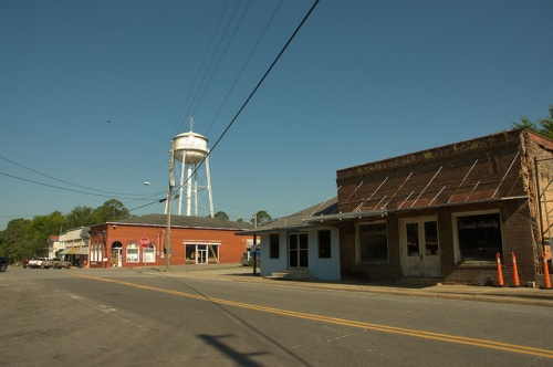 Rhine GA Dodge County Old Storefronts Water Tower Downtown Photograph Copyright Brian Brown Vanishing South Georgia USA 2014